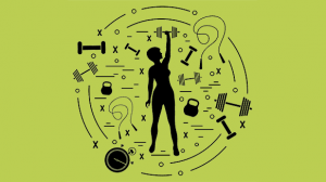 An image of a person surrounded by all things fitness. Used for My Intensity interval training workouts av Vermont sport and fitness