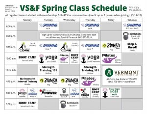 Group Fitness Class Schedule Vermont Sport & Fitness Club