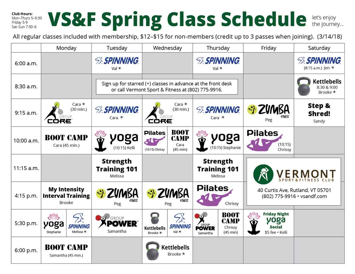 Gym Group Fitness Class Schedule Vermont Sport & Fitness Club