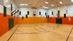 Half-court with three hoops at VS&F.